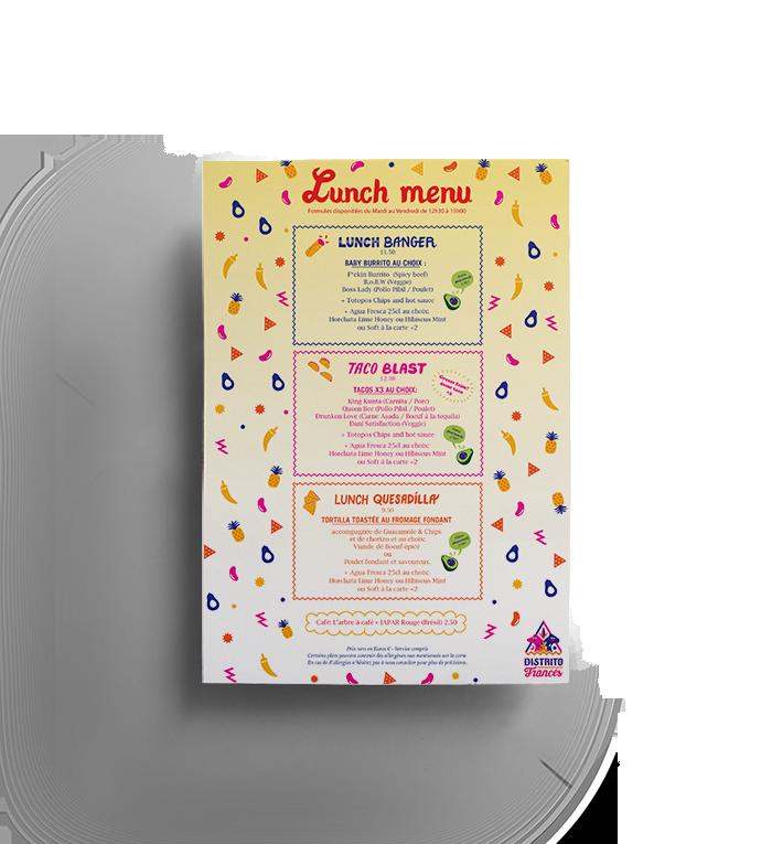 Le menu Lunch de Distrito Francés